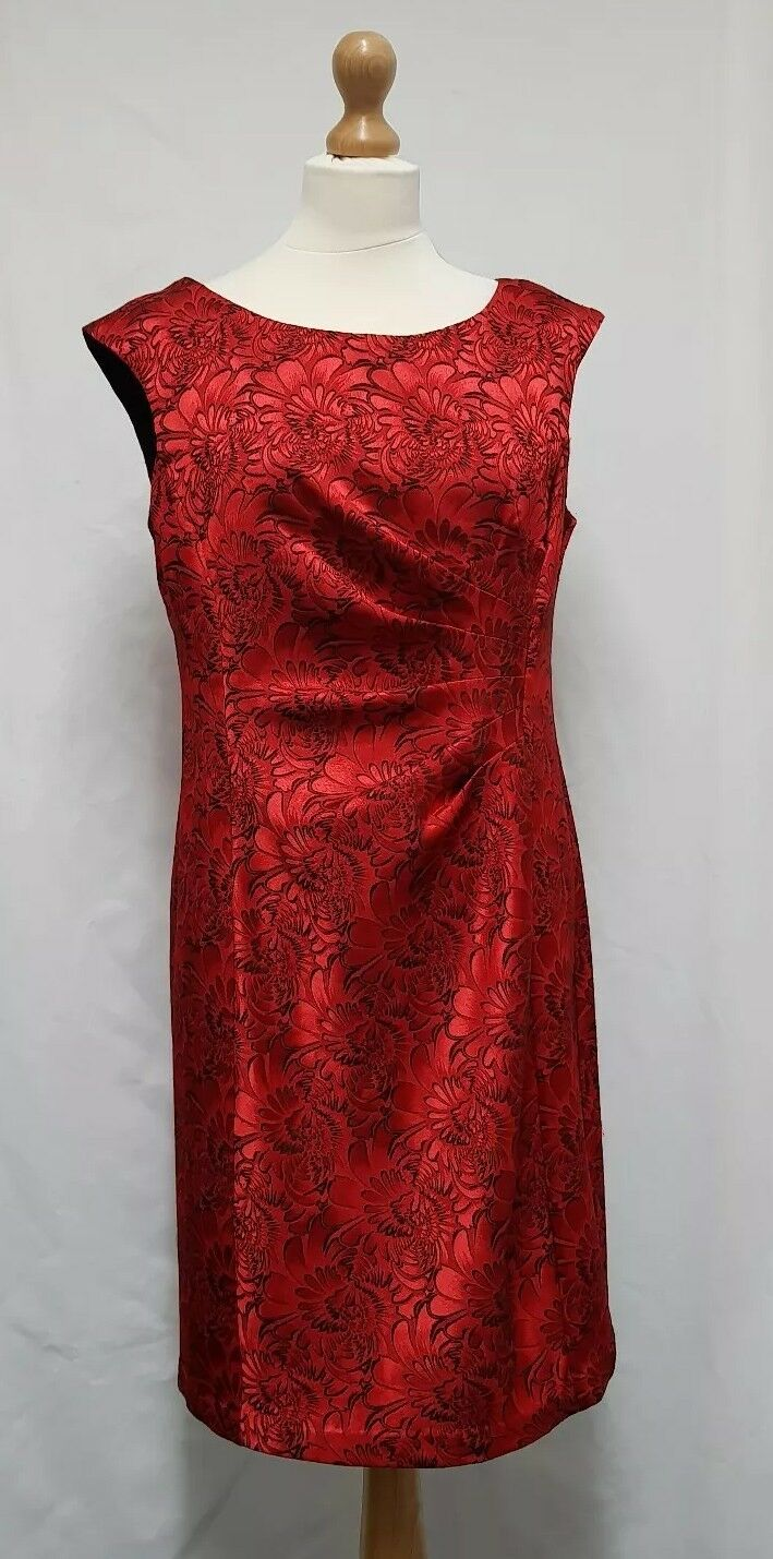 Connected Apparel Red Dress Size 12 Straight Dress Ruched Dress Valentines Dress