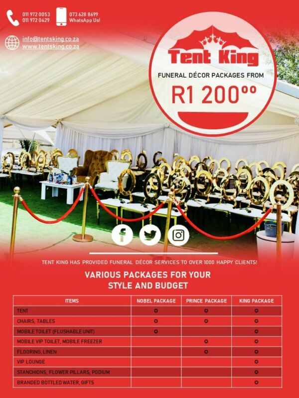 Funeral Tent Rentals, Marquee Tent, Pegs and Poles, Frame tents, Chairs, Tables, Mobile Toilets