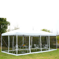Outsunny Outdoor 10x20ft Pop Up Party Tent Canopy Gazebo W/ Mesh Apron White