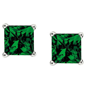 2Ct-Emerald-Stud-Earrings-Princess-Solitaire-Earrings-14K-White-Gold-Over