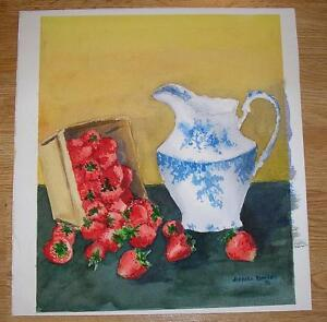 VINTAGE-STRAWBERRIES-STRAWBERRY-FRUIT-BLUE-WHITE-CREAMER-WATERCOLOR-ART-PAINTING