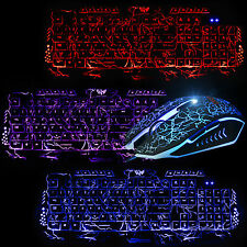 M200 3 LED Backlits Cracked Gaming Keyboard 2400DPI Illuminated USB Wired Mouse
