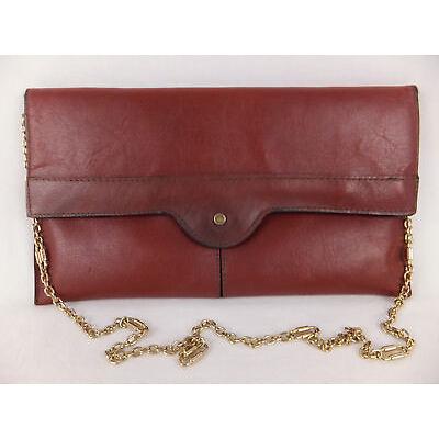Vintage Echtleder Handtasche - rot - auch als Clutch tragbar - Logo 'Krone'