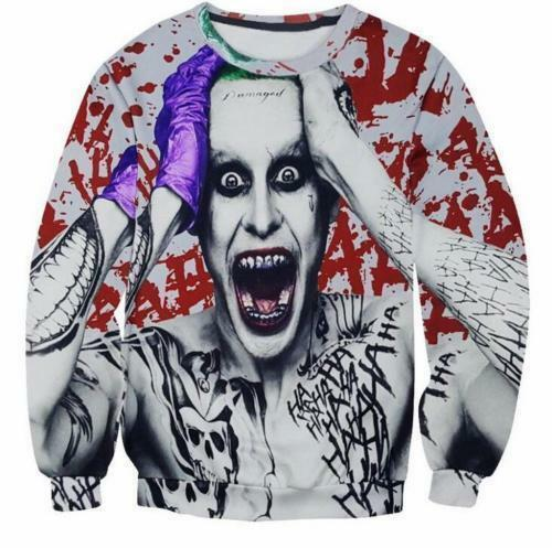 New Womens//Mens Suicide Squad Joker Funny 3D Print Casual Sweatshirt XY81