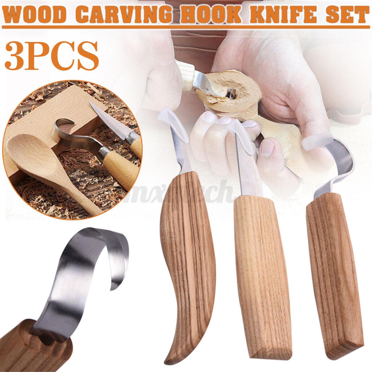 3Pcs Wood Carving Hook Crook Spoon Bowl Bushcraft Whittling Hand Tools Se