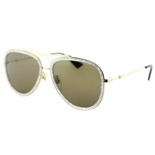 044a3907eb9 Gucci GG0062S 004 Silver Sparkle Gold Metal Aviator Sunglasses Brown Lens