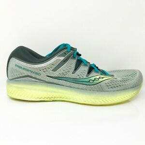 Saucony Mens Triumph ISO 5 S20462-37 Gray Green Running Shoes Lace Up Size 10