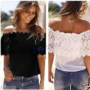 Sexy-Womens-Off-Shoulder-Shirt-Tops-Fashion-Blouse-Lace-Crochet-Chiffon-T-shirts