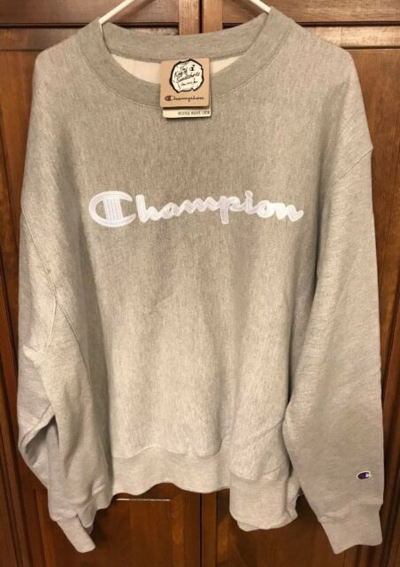 7902bca5899 Champion Reverse Weave Men XL Crewneck Sweatshirt Script Spellout Gray White
