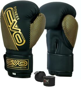 EVO-Maya-Leather-Boxing-Gloves-MMA-Training-Punch-Bag-Sparring-Muay-Thai-Fight