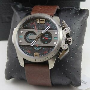 NEW-AUTHENTIC-DIESEL-IRONSIDE-GREY-BROWN-LEATHER-CHRONOGRAPH-MEN-039-S-DZ4387-WATCH