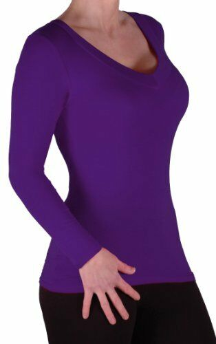 Womens Casual Full Sleeve V Neck Hip Length Skinny Fit Stretch Blouse Tunic Top