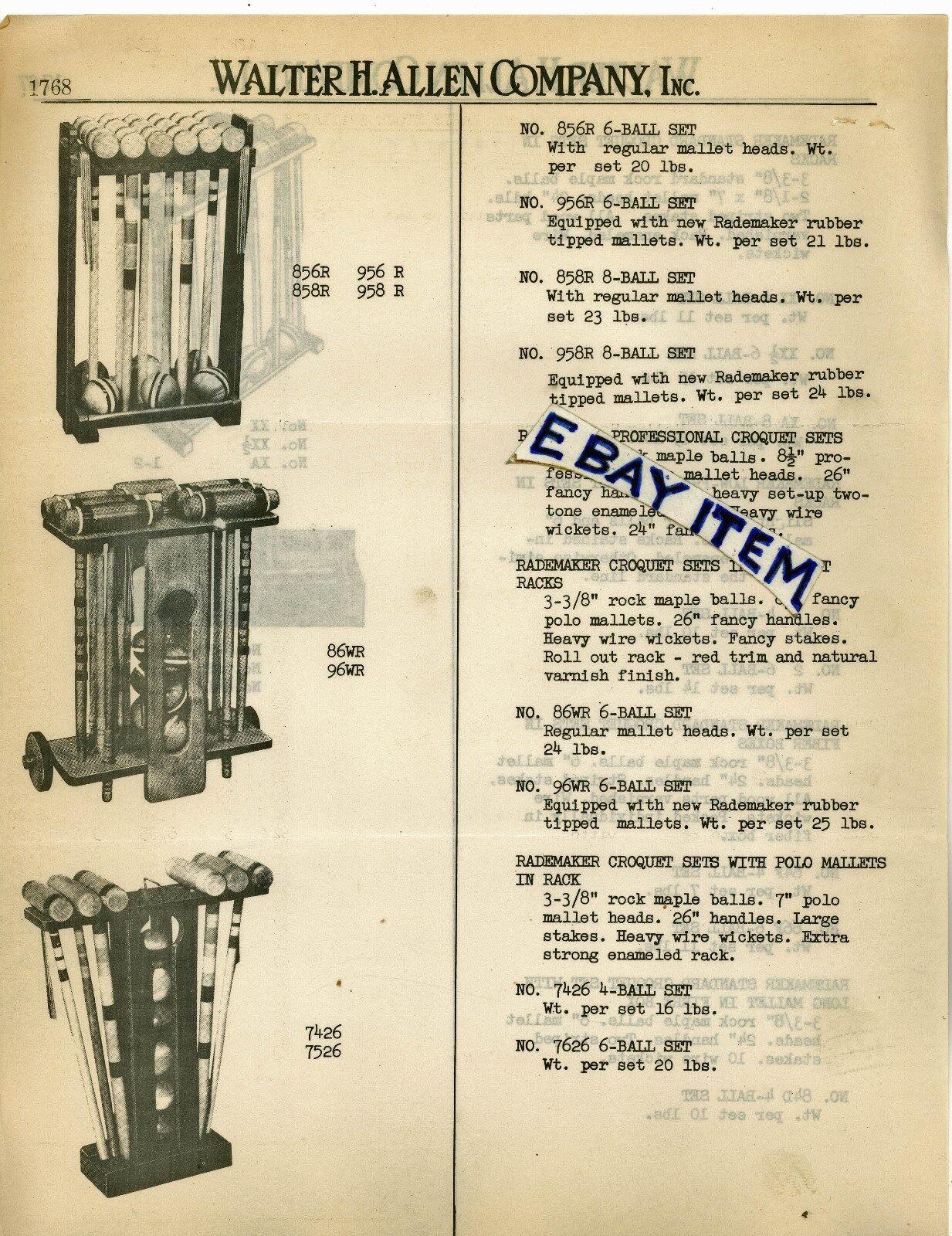 1949 RADEMAKER CROQUET order form etc WALTER H ALLEN COMPANY  Dallas Texas LETTER  discount store
