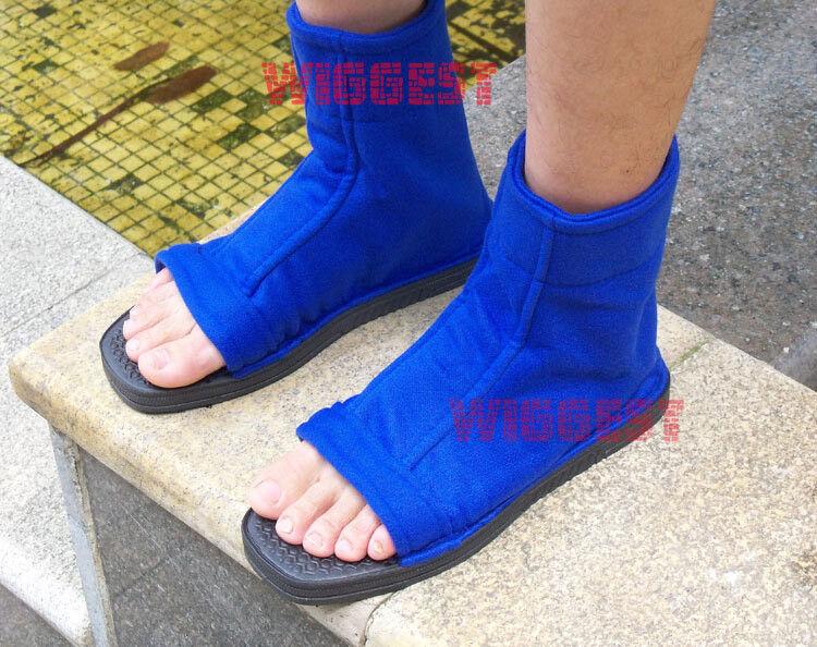 Blue Village Naruto Leaf Village Blue Ninja Cosplay Shoes Sandals Boots Costume Sasuke Gaara 4cc2a3