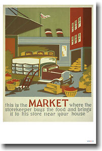 This-is-the-Market-Vintage-1940-039-s-WPA-Art-Food-POSTER