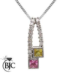 BJC-18-ct-Oro-Blanco-Amarillo-amp-Zafiro-Rosa-Diamante-Cadena-Y-Colgante