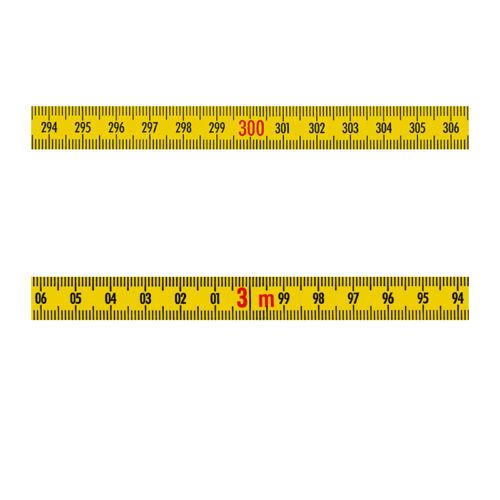 Skalenbandmaß Stahl rechts links 13mm gelb Duplex sk825a Maßband 0,3m bis 100m