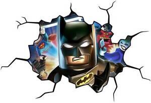 lego batman cracked wall effect decal sticker home decor art mural