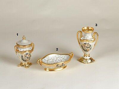 Amabile Poutiche Svuotatasca E Vaso Piccolo Via Veneto Ceramica Panna E Oro Craquet Rose Qualità E Quantità Assicurate