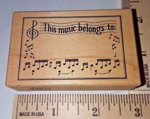 034-This-Music-Belongs-To-034-Musical-Notes-F-737-PSX-Wood-amp-Foam-Rubber-Stamp