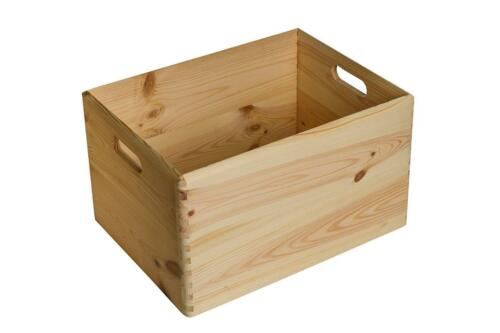 Large New Plain Wooden Chest Storage Toy Tool Box Caddy Home Kitchen NO LID