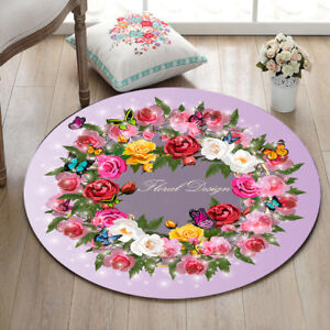 Rose-Floral-Flannel-Yoga-Mat-Rugs-Floor-Bathmat-Round-Rug-Non-slip-Area-Rugs-NEw