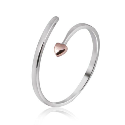 Materia corazón abierto anillo de 925 Sterling plata-plata anillo Rosegold dorado