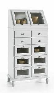 Dispensa mobile da cucina in legno 10 cassetti 2 ribalta in legno bianco ebay - Ikea mobili cucina dispensa ...