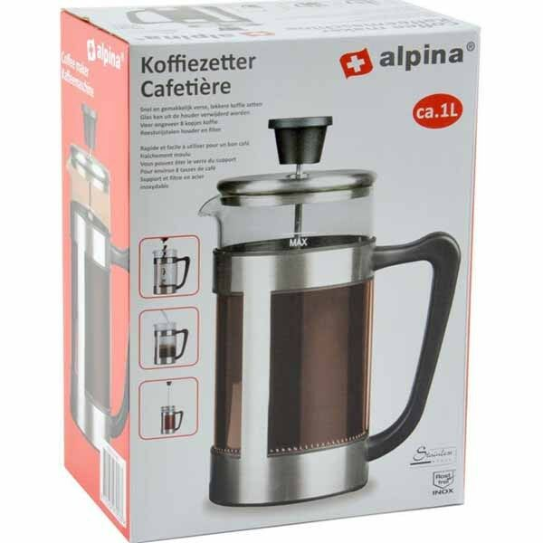 Cappuccino Maker 1 Litro In Acciaio e Vetro Teiera a Pistone Pressofiltro Alpina