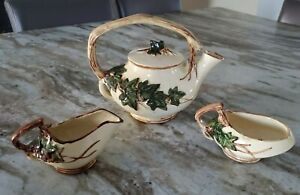 McCoy Pottery Tea Set  - Ivy Pattern -  3 Pieces - Teapot, Creamer ,Sugar Bowl