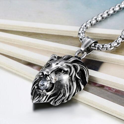 Punk Acier Inoxydable Argent or Tone Lion Head Collier Pendentif Avec Zircon Cubique Pour Hommes