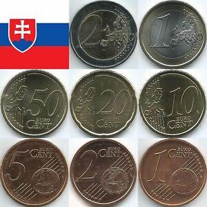 Slowakei Euromünzen von 2009 bis 2021, unzirkuliert/bankfrisch