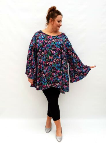 Plus Size Top Tunic Lagenlook Loose Stretchy Blouse Long Sleeve Knitted Wolfairy