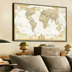 Home indoor world map antique paper poster wall chart room image is loading home indoor world map antique paper poster wall gumiabroncs Gallery