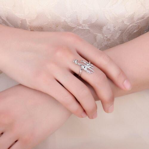 CZ madre hija Jirafa ajustable Ring 925 Silver Navidad regalo para su madre Girl