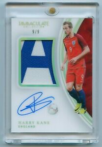 2017 Panini Immaculate Soccer Harry Kane Patch Auto 9/9 Acetate England 1/1