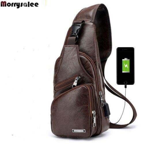 Mens Crossbody Bag Messenger Chest Shoulder Bag Faux Leather One Strap Backpack