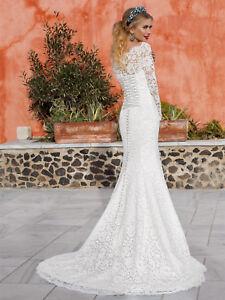 Vintage-White-Ivory-Mermaid-Long-Sleeve-Lace-Wedding-Dresses-Bridal-Gown-6-20