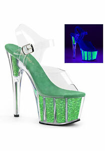 "PLEASER 7/"" Heel Neon White UV Reactive Cutout Platform Ankle Strap Women/'s Shoes"