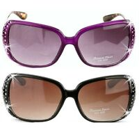 Bling Purple Leopard Black Brown Pave Crystal Rhinestone Oversized Sunglasses