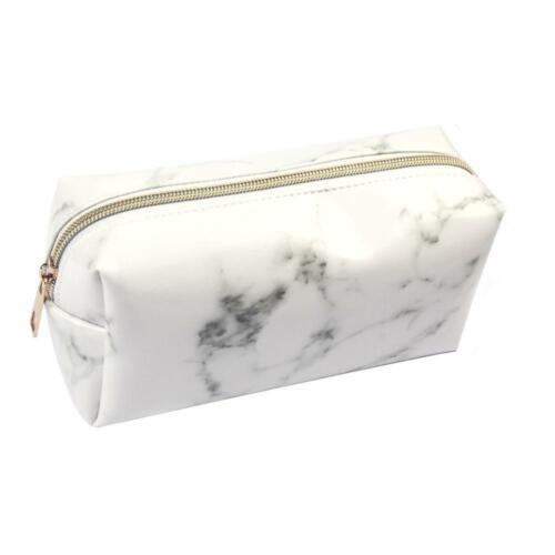 Große Reißverschluss Federmäppchen Stift Box Taschen Marmor Make-up Lagerung