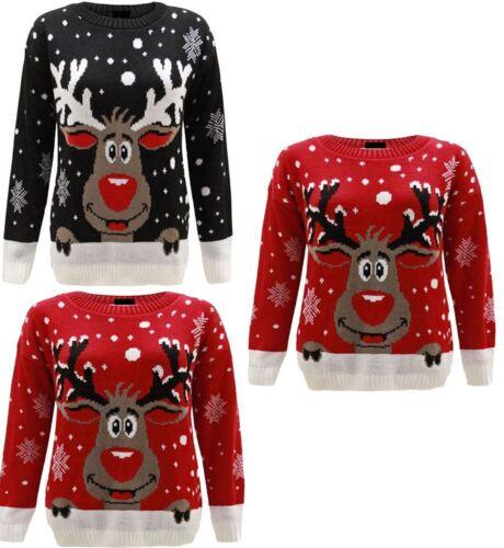 Children Rudolph Reindeer Print Knit Christmas Jumper Kids Winter Sweater
