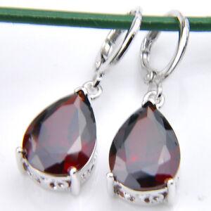 Natural-Gemstone-Red-Fire-Garnet-925-Sterling-Silver-Plated-Dangle-Hook-Earrings