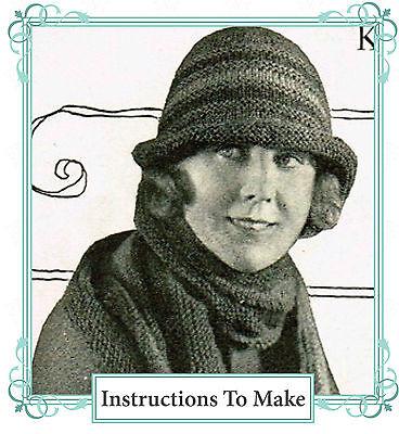 Vintage 1920s knitting pattern-Downton Abbey era striped flapper hat to make