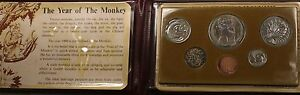 1980-Singapore-6-Coins-Brilliant-Uncirculated-Set-Year-Monkey-Original-Packaging