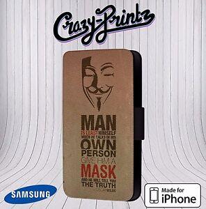 Image of: God Image Is Loading Anonymousoscarwildquotegivehimamask Ebay Anonymous Oscar Wild Quote Give Him Mask Phone Cover Leather Flip