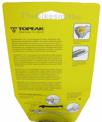 "Topeak DeFender XC11 29er TC9628 Rear Fender QuickRelease Bike 29/"" Max Mud Guard"