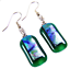 """thumbnail 2 - Dichroic Glass Earrings Green Rainbow Tie Dye Striped Dangle Surgical Wire 1"""""""