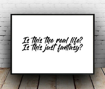 Poster Song Words Quote Queen Bohemian Rhapsody Lyrics Wall Art