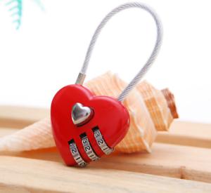 3 Digital Resettable Passwor Wire Rope Heart Shape Love Lock Combination Padlock